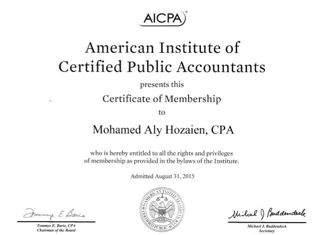 Member of American Institute of Certified Public Accountants