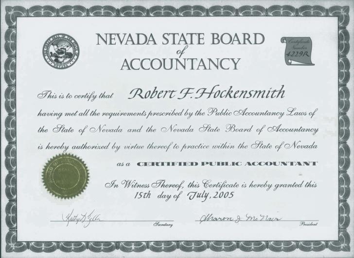 Licensed CPA in Nevada